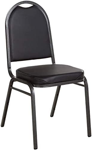 """Black Stackable Banquet Chair with 2"""" Padded Seat and Silver Vein Frame. Chair for Kitchen, Dining, Bedroom, Living Room Side, Party, Ivents, Banquets."""