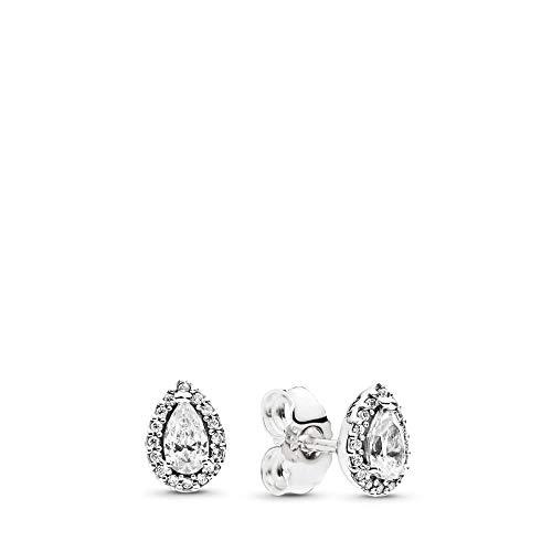 (PANDORA Radiant Teardrops Stud Earrings, Sterling Silver, Clear Cubic Zirconia, One Size)