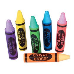 Rhode Island Novelty Set Of 36-Crayon Shaped Erasers-Assorted Colors. 2.5 Inch