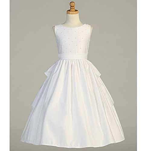 Lito White Satin Pearled Tea Length First Communion Dress Girls 8 ()