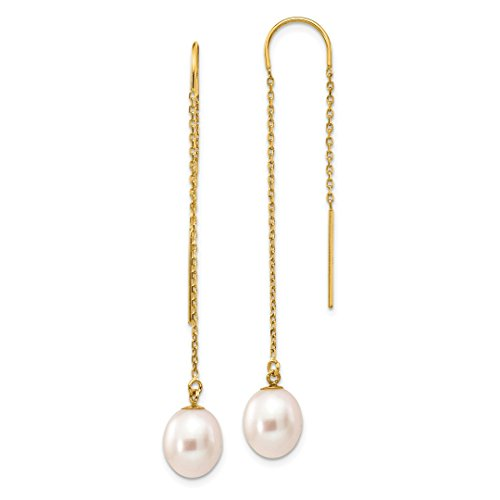 Earrings Pearl Culture (ICE CARATS 14kt Yellow Gold 8mm White Rice Freshwater Cultured Pearl Drop Dangle Chandelier Tassel String Threader Earrings Fine Jewelry Ideal Gifts For Women Gift Set From Heart)