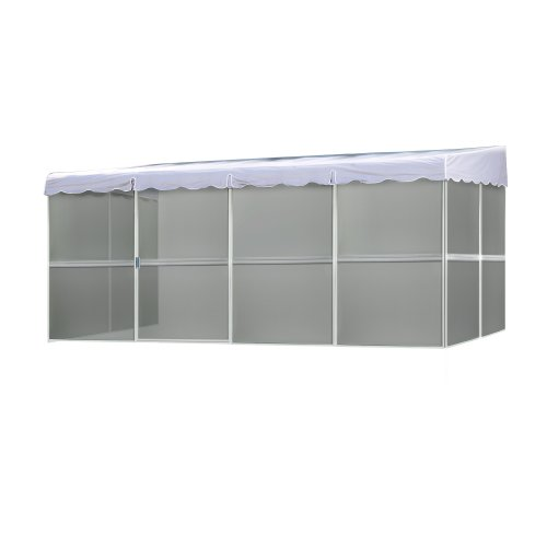 Patio Mate 8-Panel Screen Enclosure 89322, White with Gray Roof - Screened Room