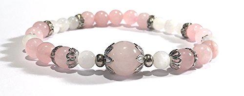 Small Handmade Rose Quartz and Moonstone Healing Bracelet for wrist sizes 5 to 6 (Quartz Beaded Bracelets Rose)