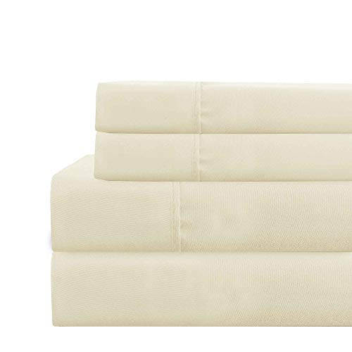 (Amrapur Overseas Deep-Pocket Ultra-Soft Solid 4-Piece Sheet Set, Queen, Ivory)