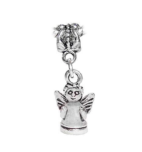 Angel Baby Cherub Christmas Holiday Dangle Charm for European Slide Bracelets id-2607 - Metal Charms Cherub
