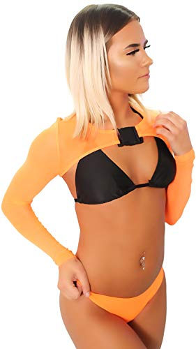 Orange Womens Crop Top Mesh See Through Neon Rave T-Shirt EDM Buckle Large