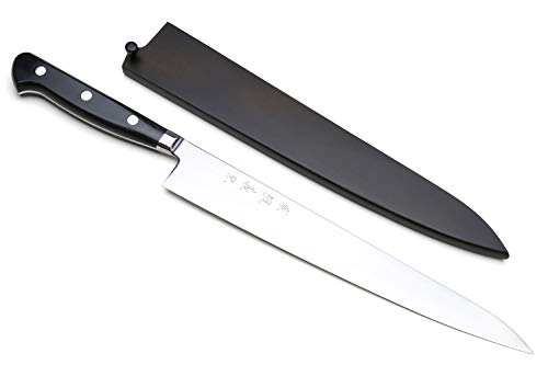 Yoshihiro High Speed Steel Sujihiki Slicer Knife (Black Pakkawood Handle) -