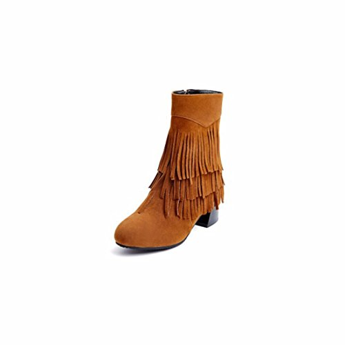 Camel Short Boots Autumn and Three Big Layer 36 Winter Size Fringe Shoes Womens wp64zxPfqw