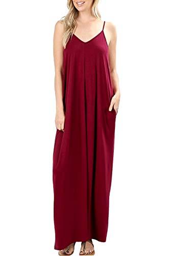 Bon Rosy Women's Casual Plain Flowy Loose Cover-Up Stripe Jersey Maxi Dress w/Pockets Burgundy M