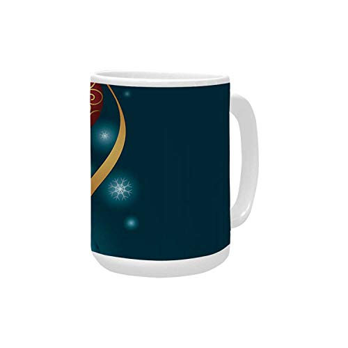 (Christmas Ceramic Mug,Vivid Classical Baubles with Ribbons and Different Patterns Abstract Decorative for Home,15OZ)