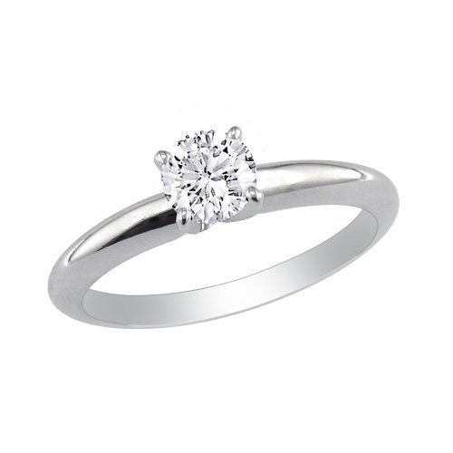 1/4ct Diamond Engagement Ring in 10K White Gold, Ring Size 8.5 (J/K I2) With Free Blitz Jewelry Cleaner