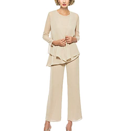Mother of The Bride Pant Suits 3 Piece Outfits Formal Womens Evening Long Sleeve Chiffon Dressy Pantsuits for Weddings(Champagne 4)