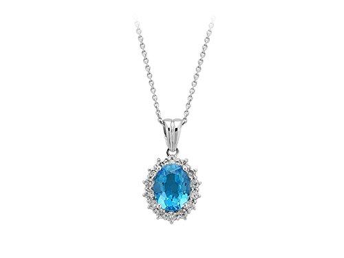 Birgie Diamants et Bijoux - Pendentif Topaze et Diamants-Femme- or Blanc 201P0010