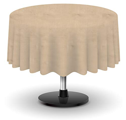 Firefly Craft Rustic Burlap Round Table Cloth, 60 Inches by 60 Inches, Set of 1 ()