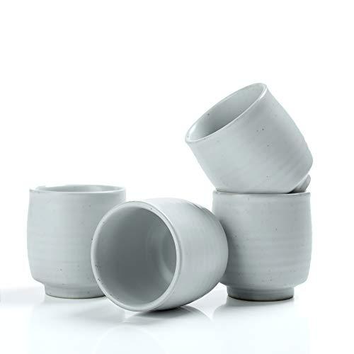 TEANAGOO Pottery - Tazas de te chino para W07, 6 onzas, ruware, blanco, 4 piezas/caja, TC07, taza de te japones, tazas de te japones, taza de te coreano, taza de te japonesa grande