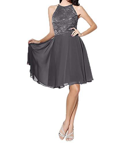 Knielang Grau Chiffon Festlichkleider Damen Einfach Partykleider Brautmutterkleider Charmant Linie Abendkleider A wa7Bx