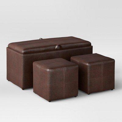4pc Storage Ottoman Brown - Threshold153; Brown threshold™