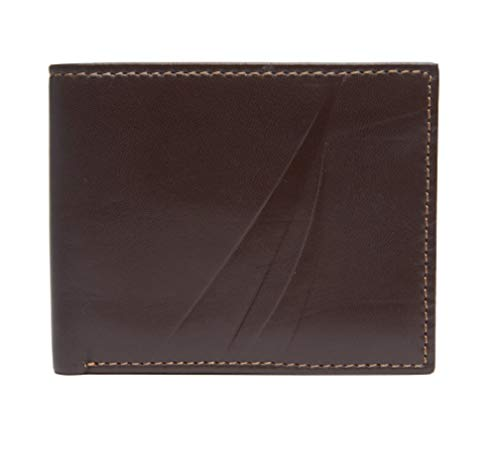 Nautica Men RFID Data Protection Genuine Leather Bifold Wallet Passcase (One size, Brown)