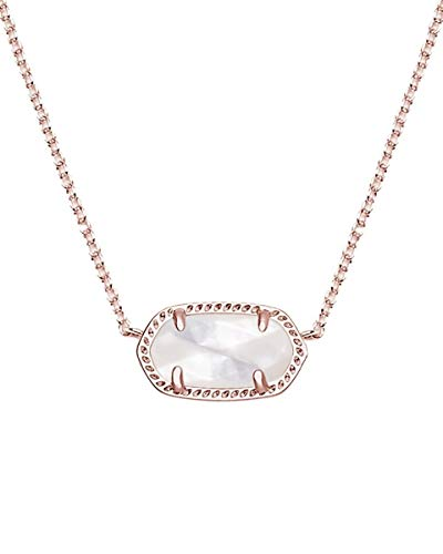 Kendra Scott Signature Elisa Pendant Necklace in Rose Gold Plated and Ivory Mother of Pearl ()