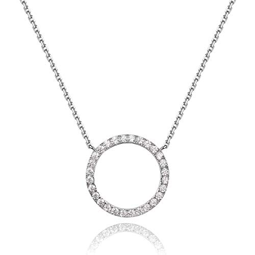 (Rhodium Plated Paved Circle Pendant Sterling Silver Necklace for Women)