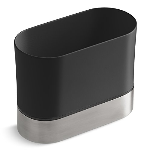 KOHLER Kitchen Dish Brush Holder, Sink Caddy, Silicone and Stainless Steel, Charcoal ()