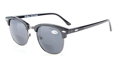 Eyekepper Semi-Rimless Bifocal Sunglasses Mens Womens Grey Lens - Sunglasses Gents