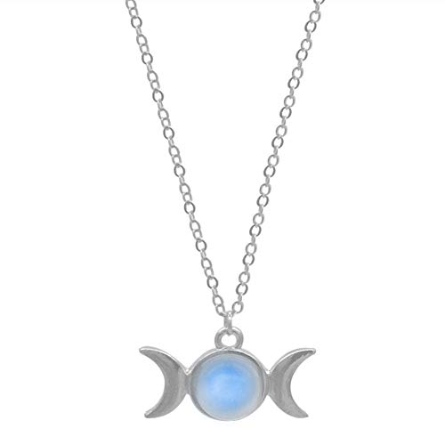 - UltraSunday Triple Moon Goddess Natural Stone Pendant Silver Necklace Witch Wicca Magic Gift