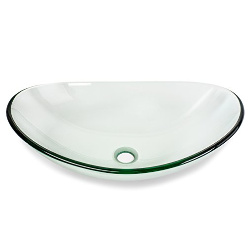 Miligor Modern Glass Vessel Sink - Above Counter Bathroom Vanity Basin Bowl - Oval Boat Clear
