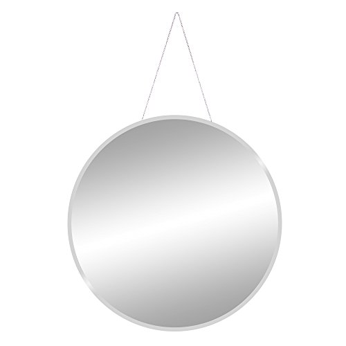 Inch 28 Frameless Beveled Wall Mirror with Hanging Chain, Silver ()