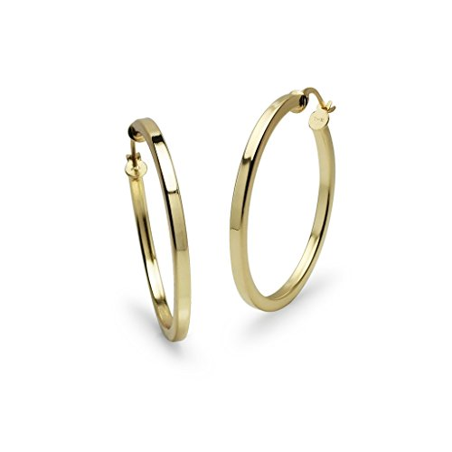 Yellow Gold Flashed Sterling Silver Polished 2x20mm Square Tube Hoop Earrings ()