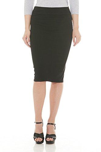 Esteez Womens Modest Lightweight Cotton Lycra Knee Pencil skirt Black (Lightweight Spandex Skirt)