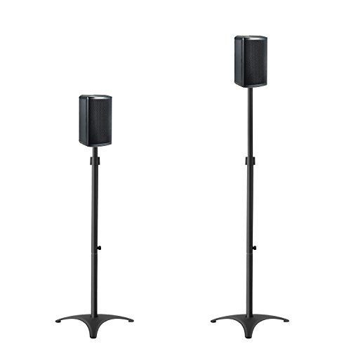 Mounting Dream MD5401 Height Adjustable Speaker Stands Mounts, Two in One Floor Stands, Heavy Duty Base and ExtendableTube with 11 LBS Capacity Per Stand, 35.5-48