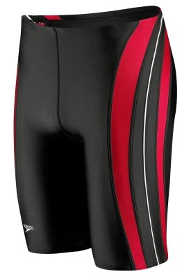 Speedo Men's Xtra Life Lycra Rapid Splice Jammer Swimsuit, Black/Red, 28 (Speedo Mens Jammers)
