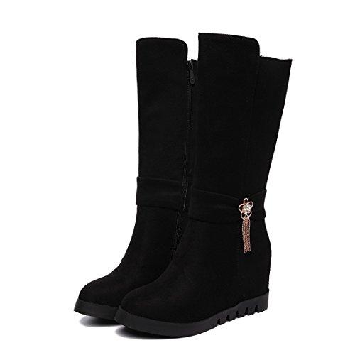 di alto stivali stivali donna Metà black DEDE tubo autunno da moda inverno e tacco medio donna scarpe Sandalette autunno camoscio wgxT1w7