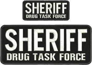 Sheriff Drug Task Force Embroidery Patches 4X10 with Hook ON Back by HighQ  Store