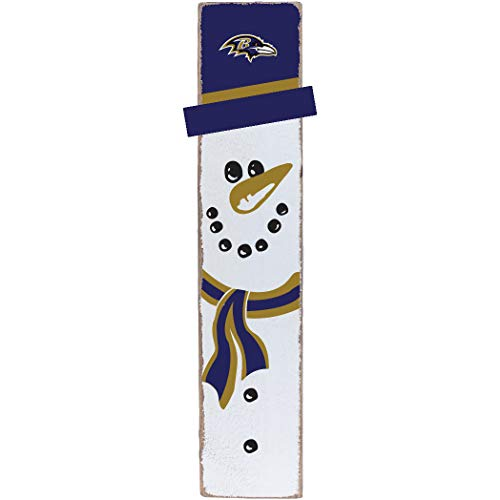 Rustic Marlin Designs NFL Baltimore Ravens Snowman Barn Board Sign, Team Color, 10