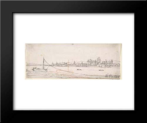 Wenceslaus Hollar - 18x15 Framed Museum Art Print- View of Lahnstein on The River Rhine (River Rhine Framed)