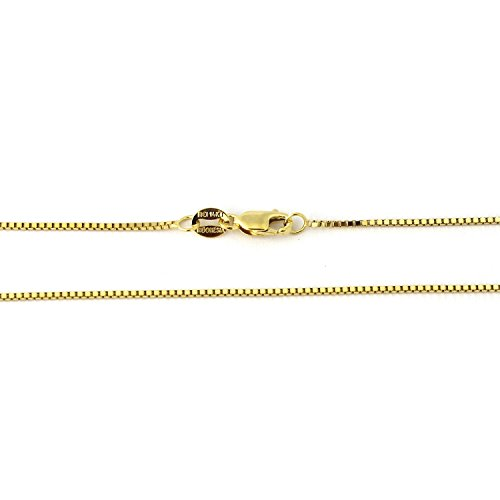 14k Yellow Gold 0.80mm Box Chain Necklace, (Yellow Gold Solid Long Box)