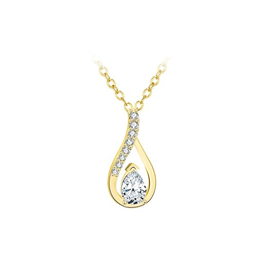 [Gnzoe Gold Plated Hollow Teardrop Shape Cubic Zirconia Crystal Pendant Necklaces for Womens,1x2CM] (Lost Boys Costume Vampire)