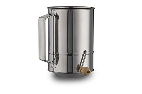 4 Cups Crank Flour Sifter Stainless Steel Polished Finish ( by Kitchen Winners )