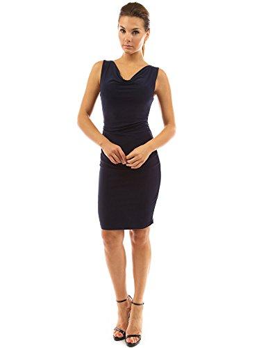 Sheer Cowl Neck - PattyBoutik Women Cowl Neck Sleeveless Ruched Dress (Dark Blue, Navy Medium)