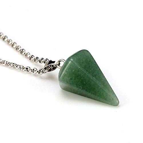 1pc Fashion Crystal Hexagonal Column Awl Shape Pendant Necklace Green AS4N