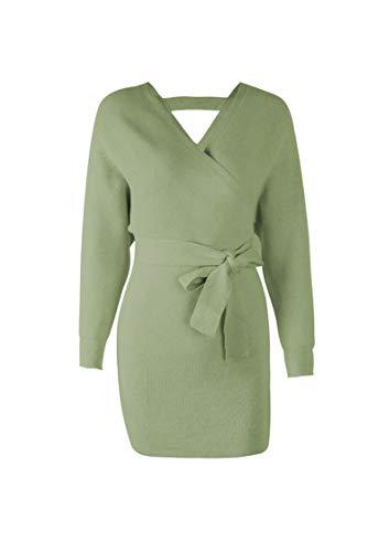 Women Dress Knitted Mini Dress Sexy Green Sweater Dress Vintage Korean ADY08,18342 Green,XL