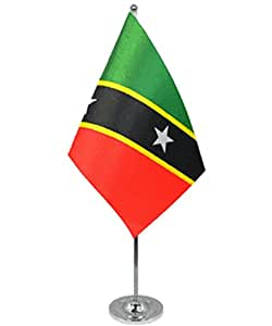 ST Kitts y Nevis satinado y cromo oficina escritorio mesa bandera