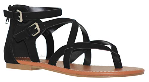 MVE Shoes Women's Gladiator Flat Sandals - Slim Strappy Ankle Buckle -Summe Tie Up Flats Sandals, Black nb Size 7.5