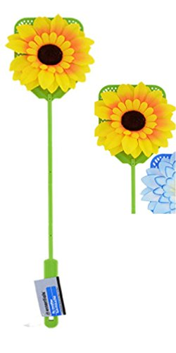 Spring Summer Plastic Fly Swatters with Flower Embellishments SunFlower GREEN by Fly
