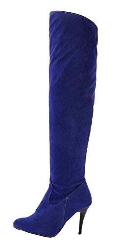 5 Taille Automne Genou Chevalier Hiver Bottes 5 De 41 Grande 34 Nubuck Bleu Femmes À x0wq7f0Wg