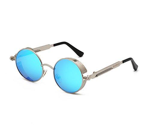 DAWILS Women's Round Retro Polarized Sunglasses John Lennon Style Circle Metal Spring Frame Eyewear Steampunk Hippie Mirror Eyeglasses (Large Lennon Style Sunglasses)