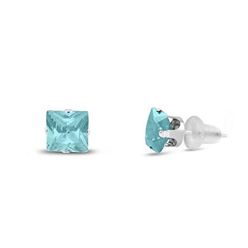 6x6mm Square Princess Cut Aqua Blue CZ Solid 10K White Gold 4-Prong Set Stud Earrings