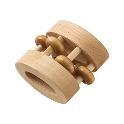 Natural Finish Oval Bead Rattle - Made in USA : Baby Rattles : Baby